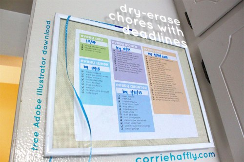 DIY Dry Erase Household Chores Checklist
